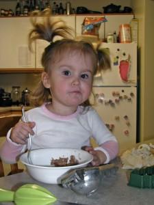 Alethia eating and playing with homemade playdough