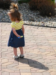 Alethia with sidewalk chalk