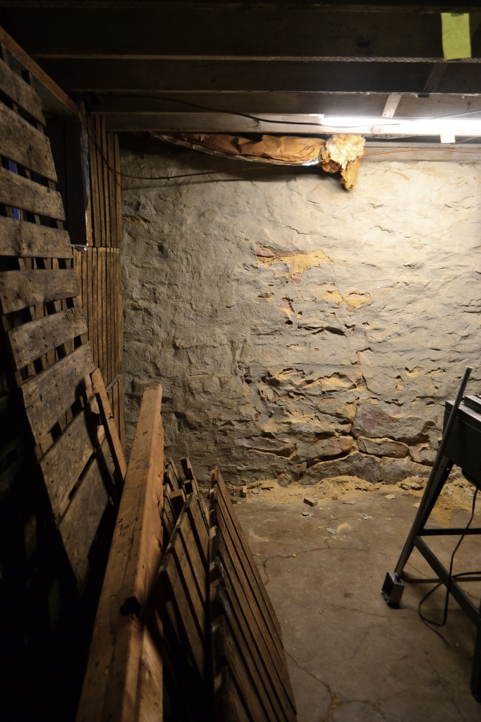 pallets and stone walls in basement
